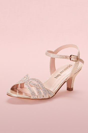 Girls T-Strap Crystal Sandals