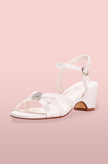 Satin strappy flower girl shoe with rhinestone charm