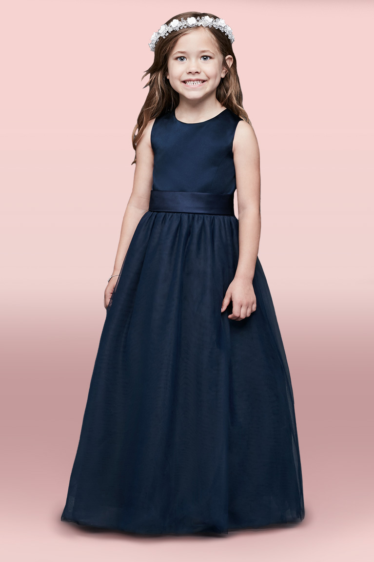 Satin Tank Bubble Flower Girl Dress with 3D Flower