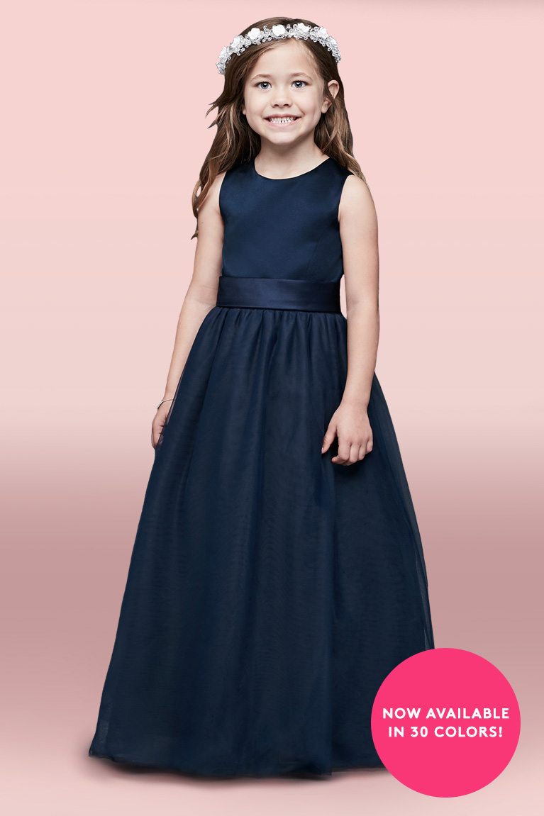 How to choose a flower girl dress davids bridal flower girl in navy blue dress and white flower crown with now available in 30 colors izmirmasajfo