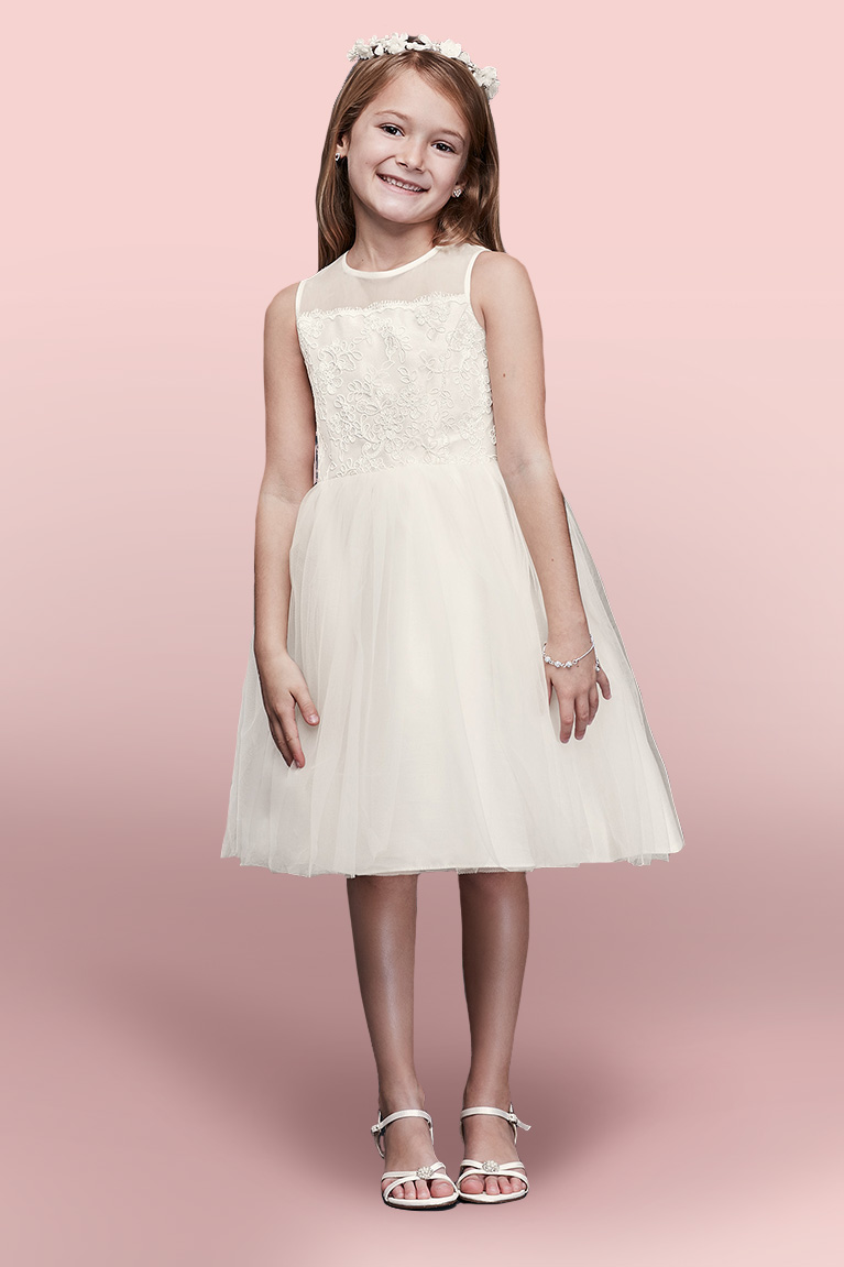 How to choose a flower girl dress davids bridal flower girl smiling wearing flower crown izmirmasajfo