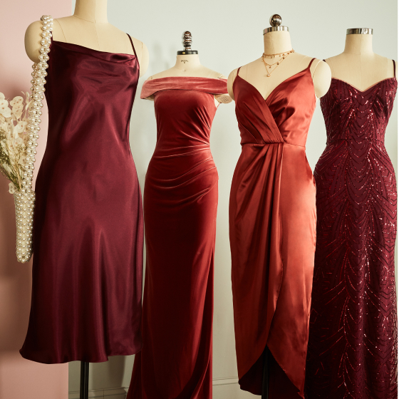 mix and match bridesmaid dresses in red
