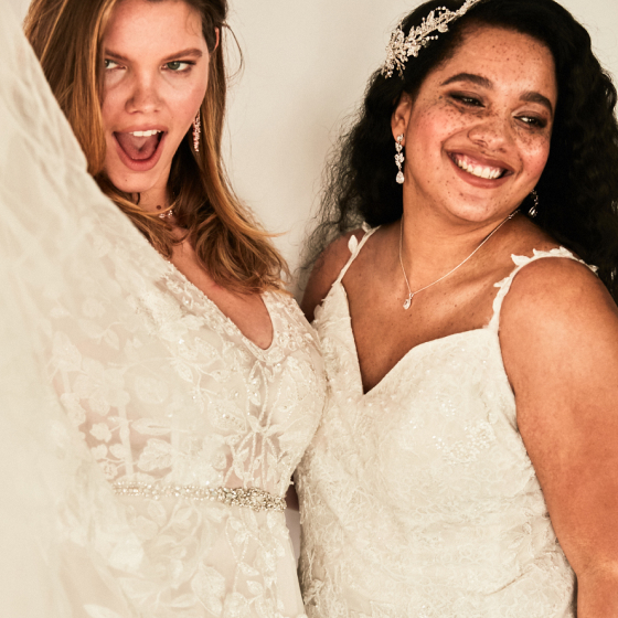 brides in david's bridal lace wedding gowns.