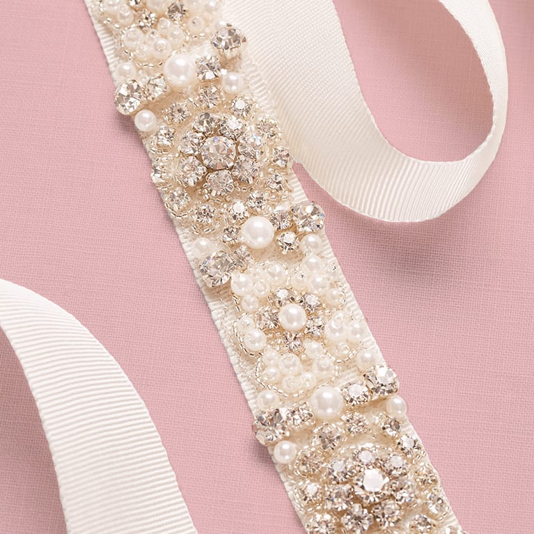 White Sash with Chrystals and Pearls