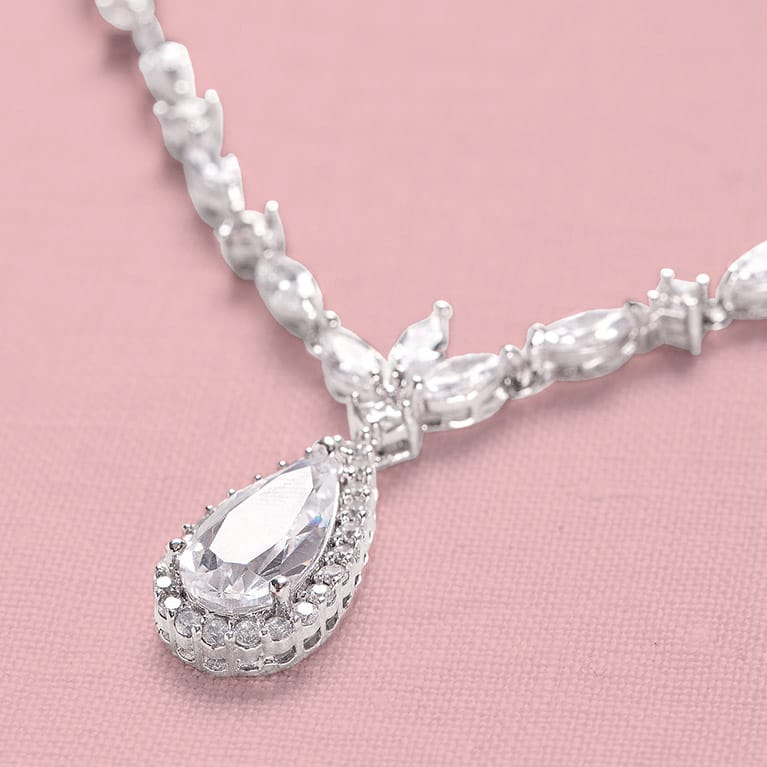 Cubic Zirconia Necklace with Tear Drop Jewel