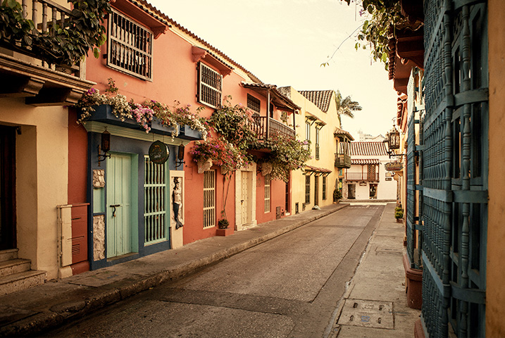 Historic looking houses on a narrow street in Cartagena, Colombia