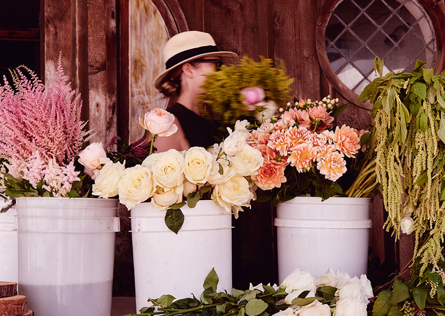 Flower vendor shop with bulk flowers to use for wedding floral arrangements