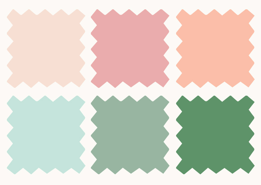Illustration of wedding fabric color swatches to help with planning