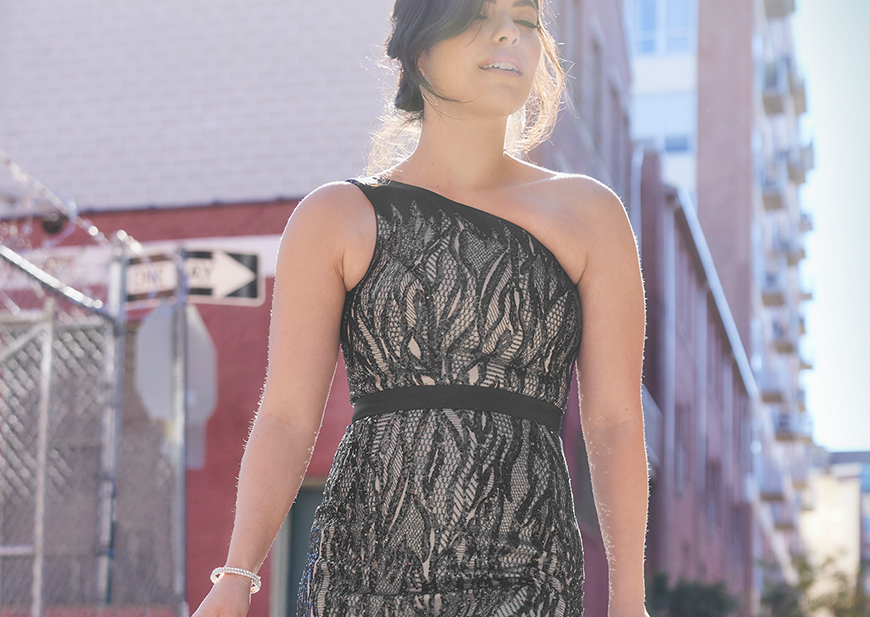 Blogger wearing long and light flowing dress as guest of wedding pick
