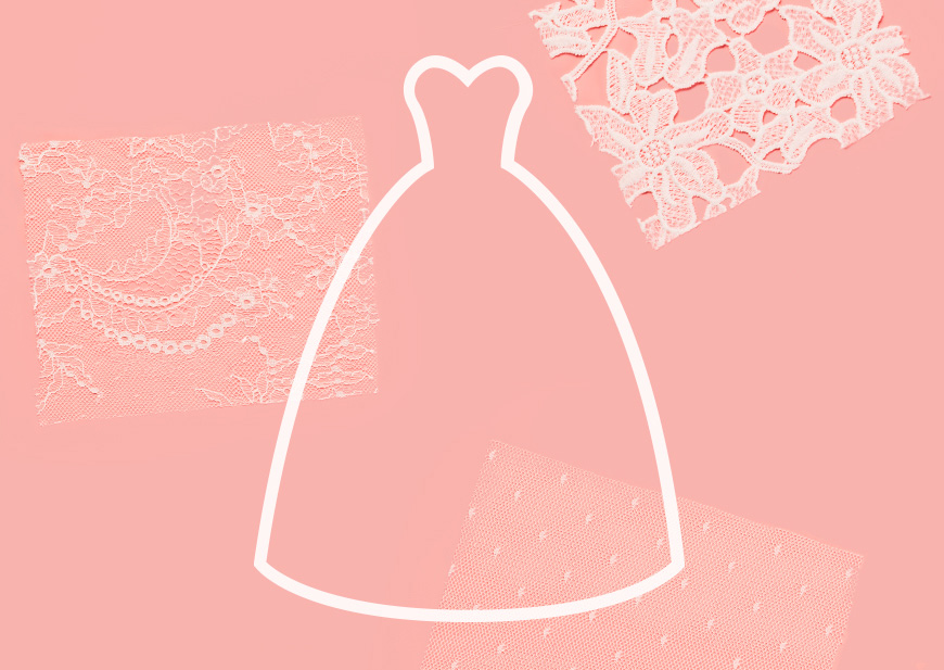 Illustration of ball gown wedding dress and lace fabric swatches on pink background