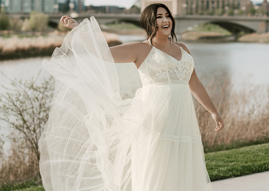 Brides wearing wedding dresses in silhouettes: sheath, ball gown and mermaid