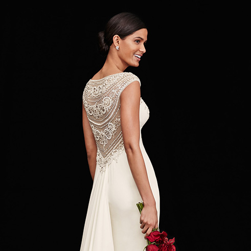 Circular image of Galina Beaded Stretch Crepe Wedding Dress