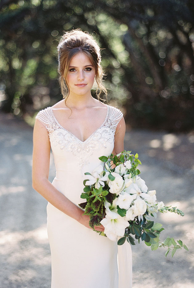 Galina's Beaded Stretch Crepe Wedding Dress