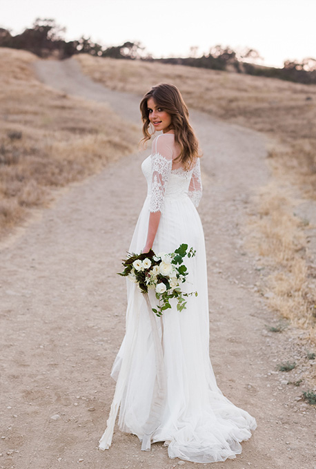Galina Gown with Lace Sleeves