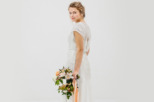 Jenny Packham Beaded Sheath Wedding Dress with Blouson Bodice