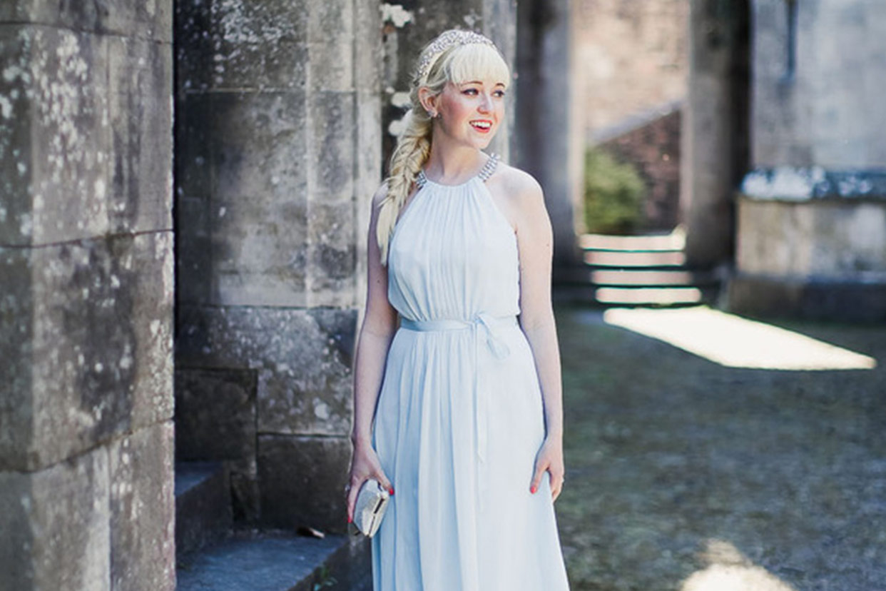 Rebecca from the blog A Clothes Horse models a Jenny Packham formal gown