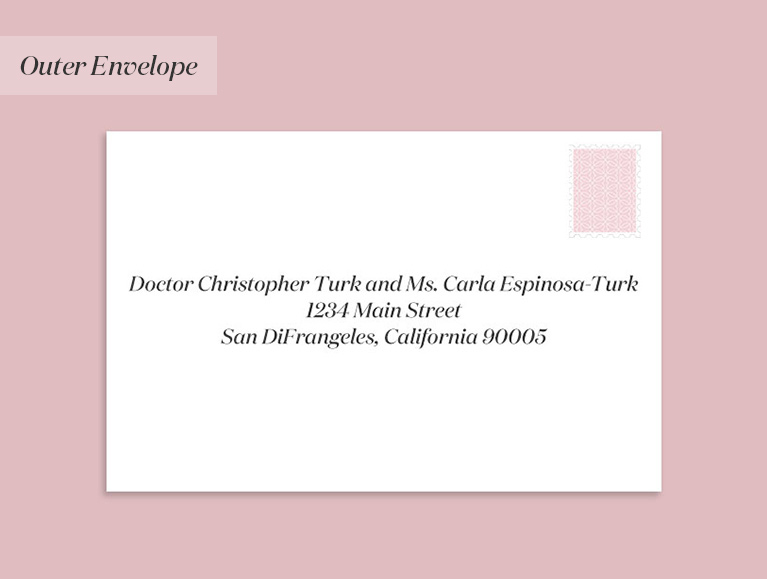 Doctor Christopher Turk and Ms. Carla Espinosa-Turk, 1234 Main Street, San DiFrangeles, California 90005