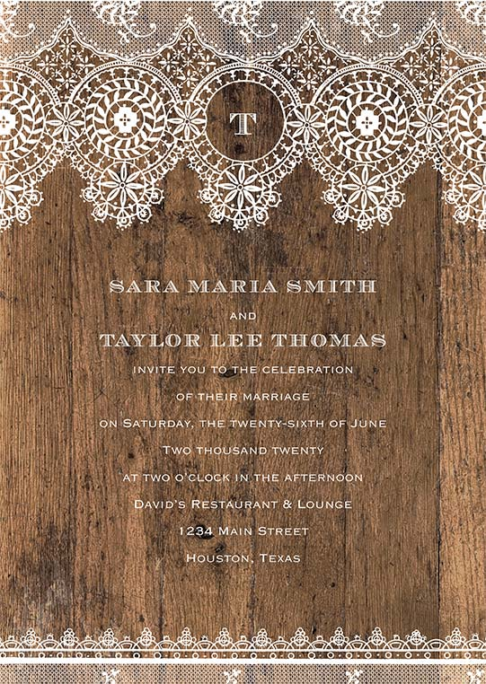 Rustic wood-style wedding invitation for Sara Maria Smith and Taylor Lee Thomas