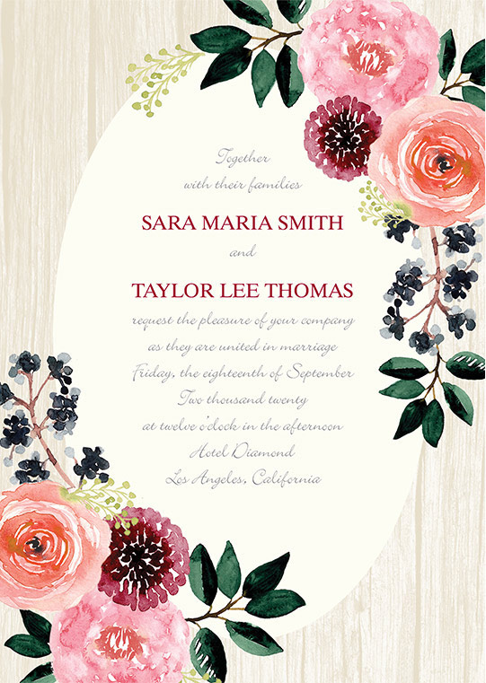 Floral wedding invitation for Sara Maria Smith and Taylor Lee Thomas