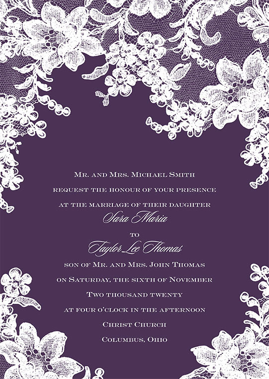 Purple with white lace wedding invitation for Sara Maria to Taylor Lee Thomas