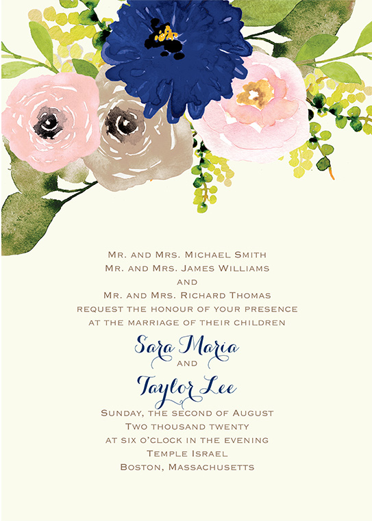 Bohemian wedding invitation on yellow background with painted flowers