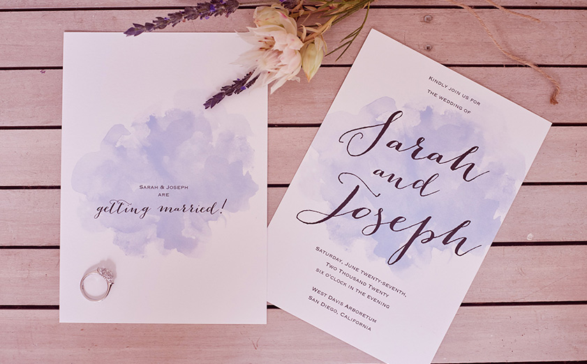 2 Wedding Invitations For Sarah And Joseph