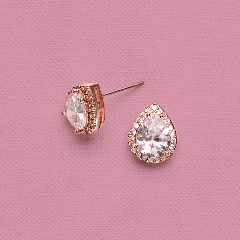 Cubic Zirconia Rose Gold Teardrop Earrings