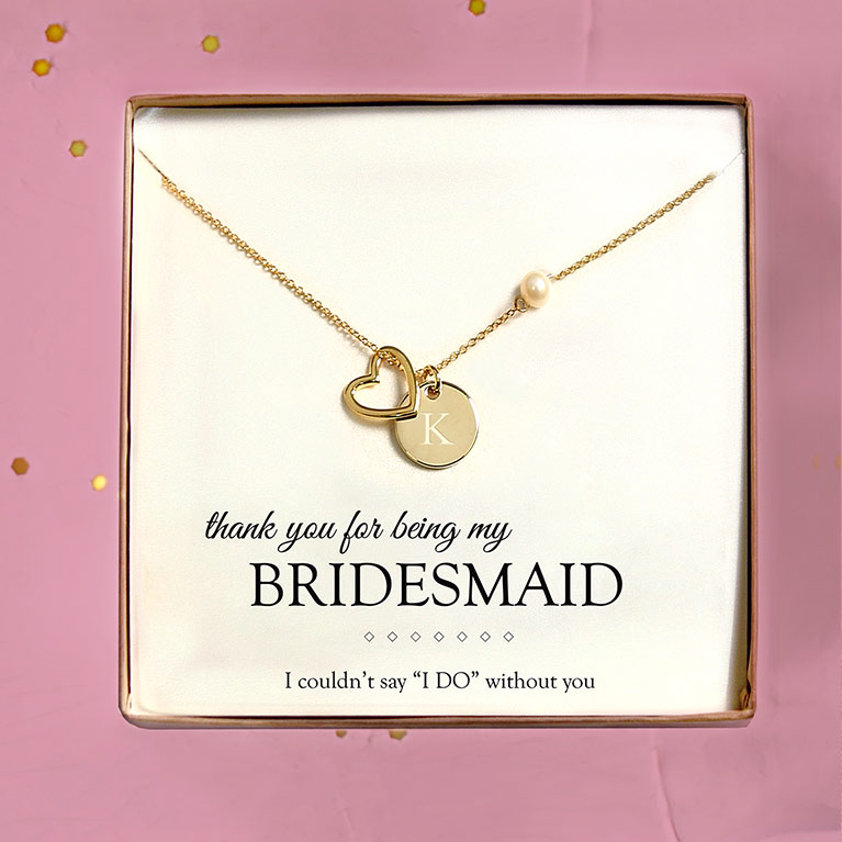 Gold personalized bridesmaid heart charm necklace