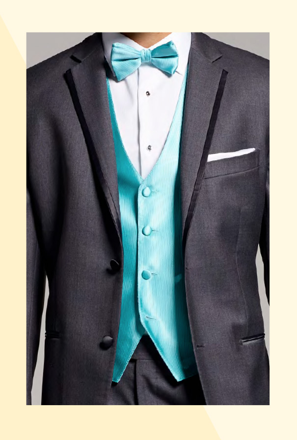 Tuxedo with bright turquoise vest and bowtie