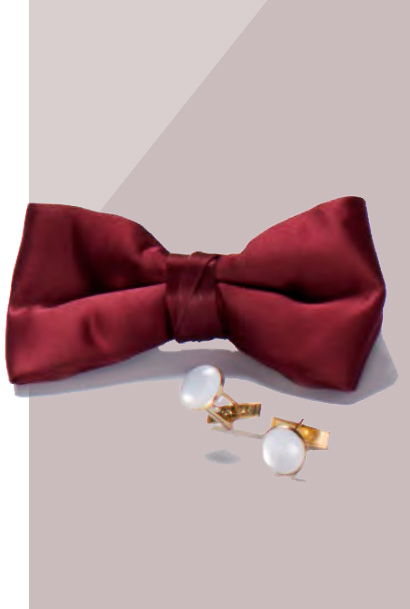 Maroon bowtie with white and gold cufflinks