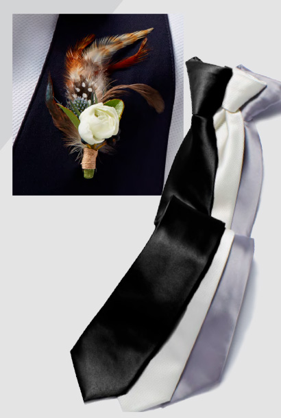 Feather boutonniere and three satin ties