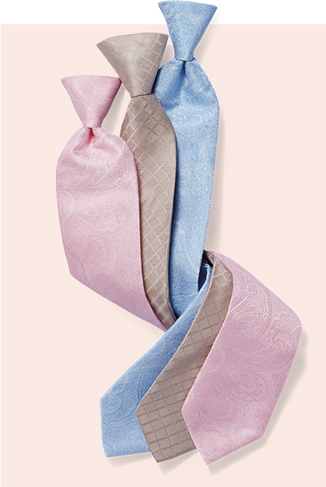 Row of three pastel ties with boutonniere