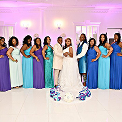 Multicolor bridal party made of blue and purple