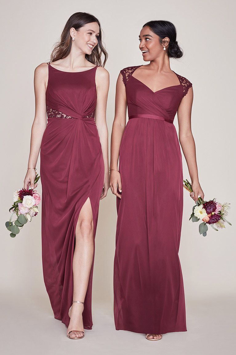 Mismatched bridesmaid dress styles colors davids bridal two bridesmaids mismatched in wine two bridesmaids mismatched in wine ombrellifo Images