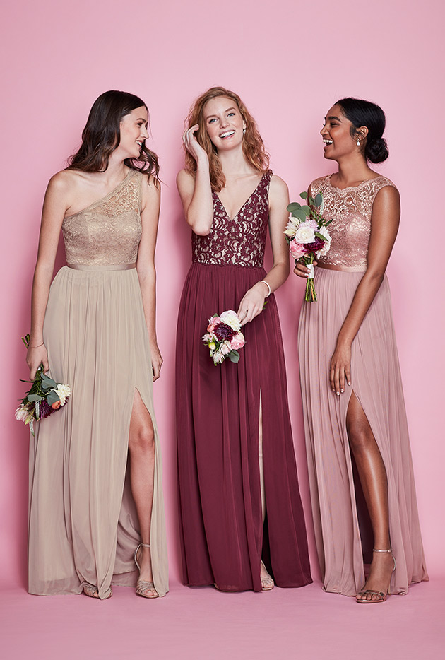 Three Bridesmaids In Mismatches Lace Dresses Bridesmaid