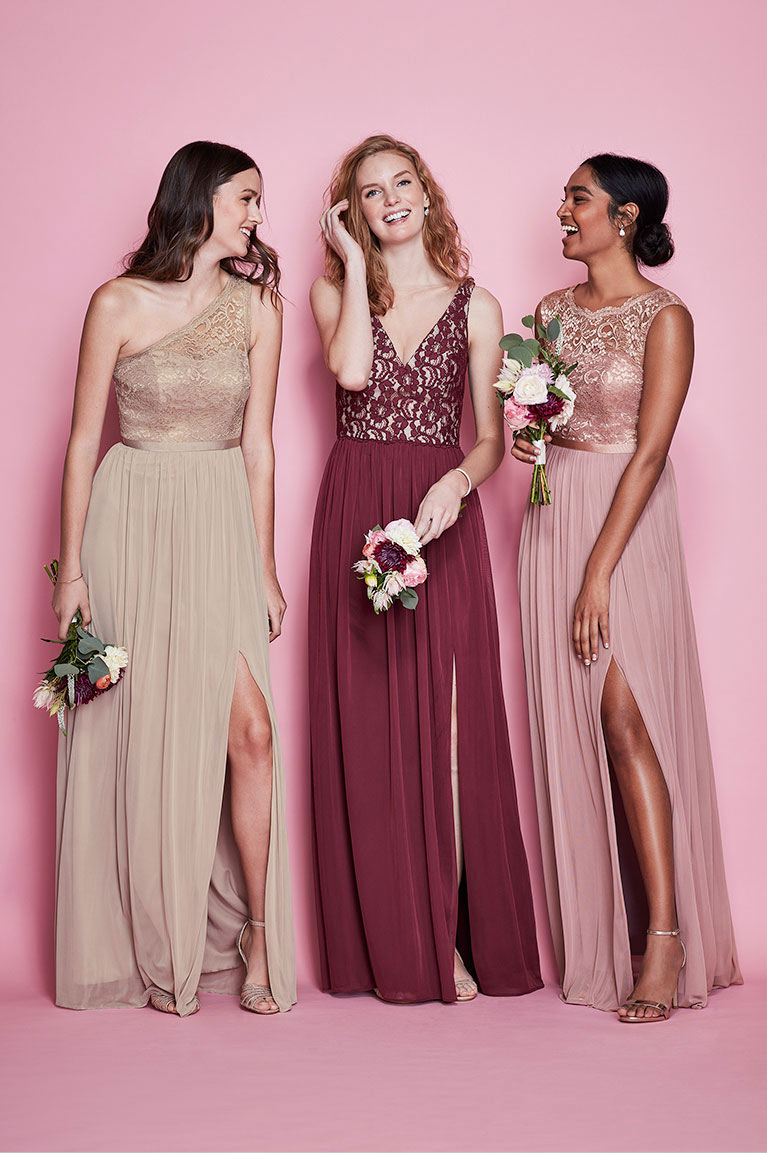 Mismatched bridesmaid dress styles davids bridal three bridesmaids in mismatches lace dresses three bridesmaids in mismatches lace dresses ombrellifo Images
