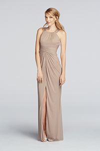 Long Beaded U Neck Mesh Dress with Ruched Waist in Biscotti