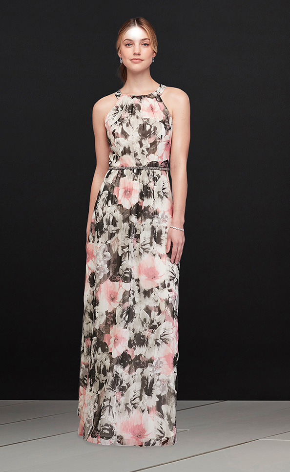 Mother of the Bride or Groom in a printed Round-Neck Chiffon Gown with Beaded Waist