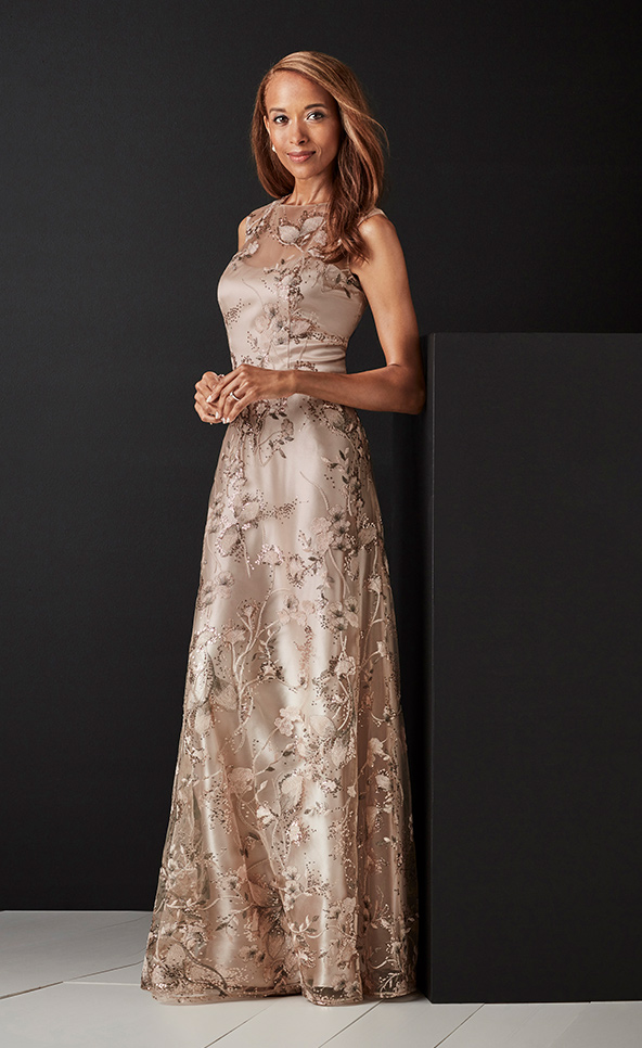 Mother of the Bride or Groom in metallic sleeveless embroidered gown