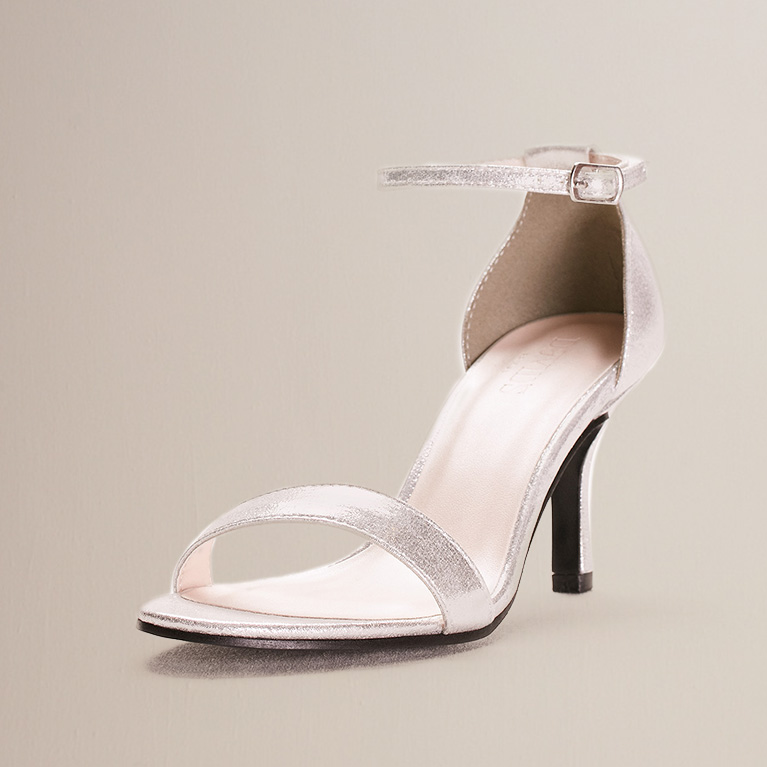 Silver metallic strappy heel
