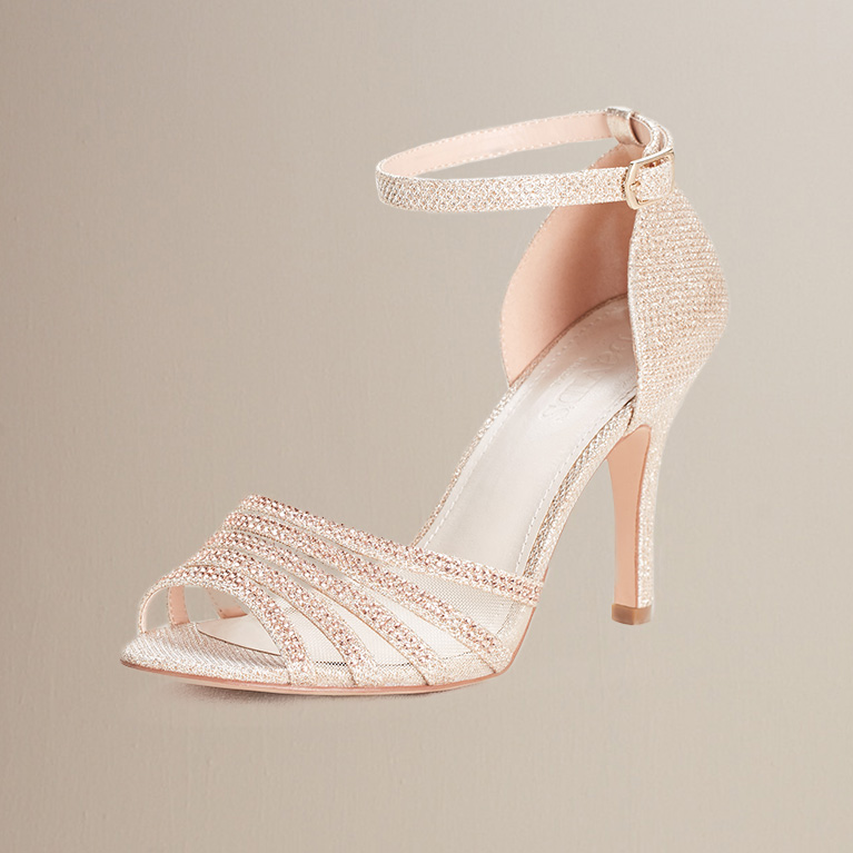 Crystal and Glitter High Heel Sandal in nude