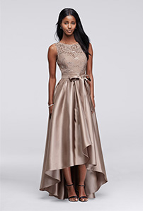 Champagne Sequin Lace Mikado Skirt Mother of the Bride Dress