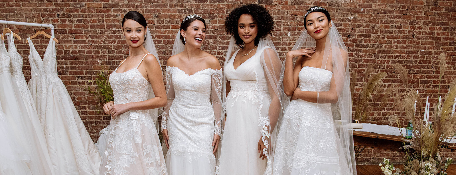 Four brides wearing new Spring 2019 collection wedding dresses.