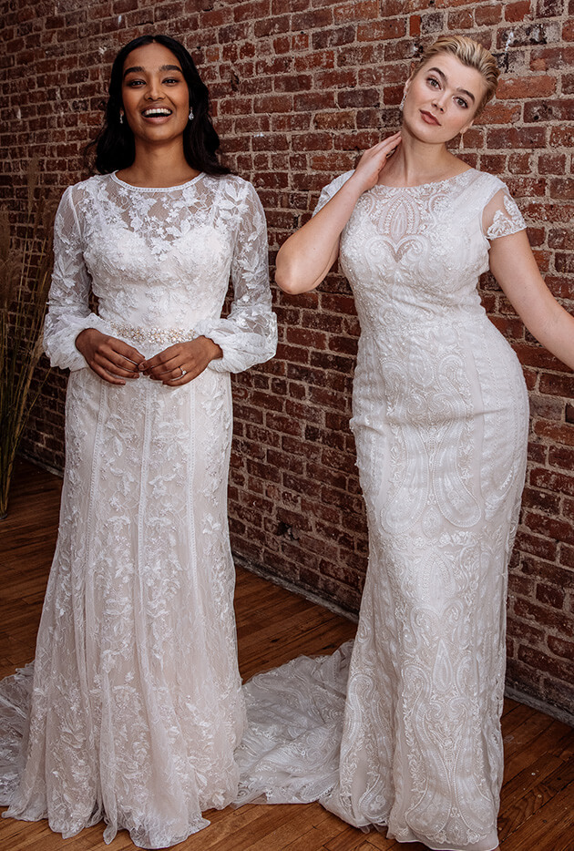 Brides wearing long lace wedding gowns.