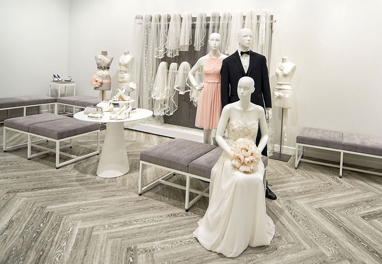 Shoes, veils and accessories shop inside David's Bridal