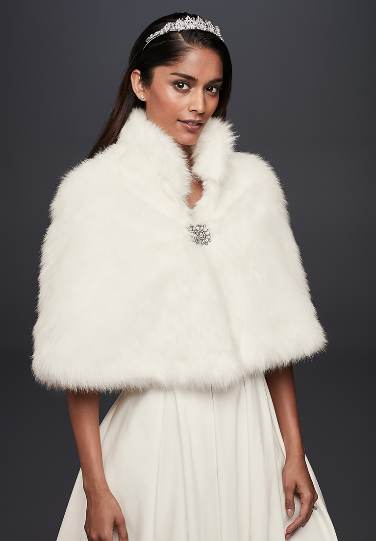 Faux-Fur CApelet with Jeweled Brooch