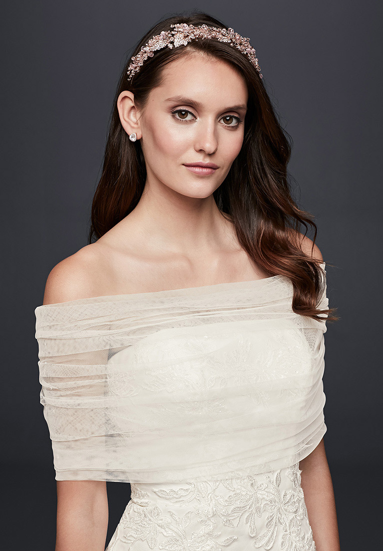 Pleated Tulle Off-the-Shoulder Wrap