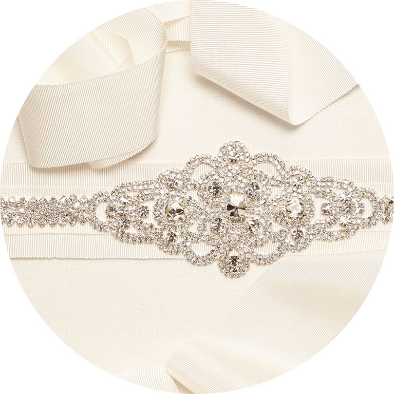 Grosgrain ivory bridal sash with beaded embellishment