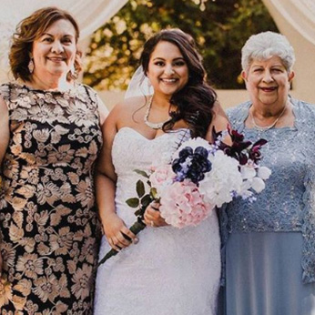 Real plus size bride with mother and grandmother