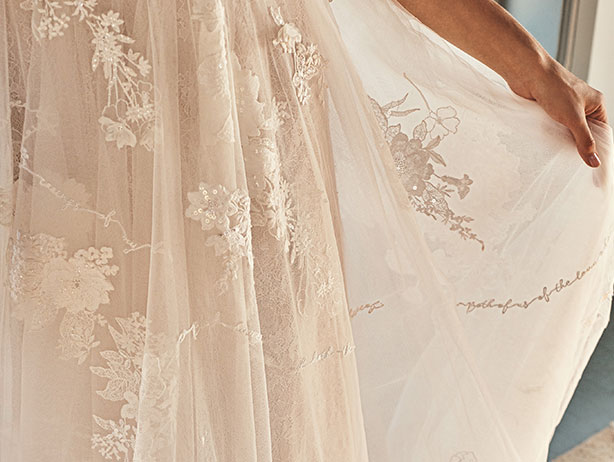 Embroidered details on a wedding dress.